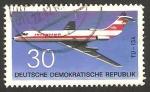 Stamps Germany -  avión de linea de la R.D.A., tupolev TU-134