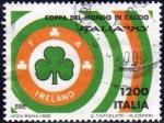 Sellos de Europa - Italia -  Italia 1990 Scott 1802e Sello Campeonato Mundial de Futbol Irlanda Eire usado