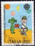 Sellos de Europa - Italia -  Italia 1983 Scott 1574 Sello Dia del Sello Dibujo de Niños Cartero entregando carta a Marciano