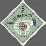 Stamps of the world : Spain :  EXPOSICION MUNDIAL DE FILATERIA ESPAÑA 75 Y AÑO INTERNACIONAL DE LA FILATERIA JUVENIL