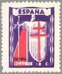 Stamps Spain -  PRO TUBERCULOSOS.CRUZ DE LORENA EN rojo