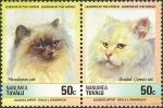 Stamps Oceania - Tuvalu -  gatos