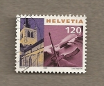 Stamps Switzerland -  Iglesia de Paverne y violín