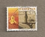 Stamps Switzerland -  Iglesia de St. Saphorin, bandeja con botella