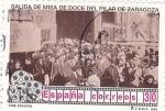 Sellos de Europa - España -  Cine Español. Salida de Misa del Pilar de Zaragoza