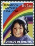 Sellos del Mundo : America : Bolivia : 10 Años Fundacion Arco Iris
