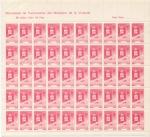 Stamps Spain -  BENEFICENCIA, FRANCO, PLIEGO DE 50 SELLOS MUTUALIDAD DE FUNCIONARIOS, MINISTERIO DE LA VIVIENDA, 2,