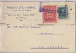 Sellos de Europa - España -  GUERRA CIVIL CENSURA MILITAR, TARJETA CIRCULADA Y ESCRITA POR DETRÁS, DE LA FÁBRICA DE HILATURAS HER