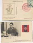 Sellos del Mundo : Europa : España : RARA POSTAL HOMENAJE A LA LEGIÓN CÓNDOR, JOSE ANTONIO, FALANGE 1939, 2.