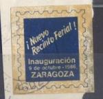 Stamps : Europe : Spain :  ZARAGOZA, VIÑETA INAUGURACIÓN DEL NUEVO RECINTO FERIAL, 1986.