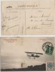 Sellos del Mundo : Europa : Francia : 1910, FRANCIA, AVIACION, POSTAL CIRCULADA VUELO PAILLETTE, PREMIO DE LA VITESSE. DE LA SERIE NANTES