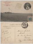 Sellos de Europa - Francia -  1910, FRANCIA, AVIACION, POSTAL CIRCULADA PRIMER VUELO DE MORANE A NANTES CON EL MONOPLANO DE BLÉRIO