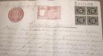 Sellos del Mundo : Europa : España : 1898, MADRID, DOCUMENTO CON FIRMAS, SELLOS FISCALES, IMPUESTO DE GUERRA. CONTRATO DE ARRENDAMIENTO.