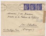 sellos de Europa - España -  GUERRA CIVIL CENSURA MILITAR DE SAN SEBASTIÁN, SOBRE CIRCULADO DE BAYONA, FRANCIA AL INGENIERO JEFE