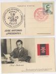 Sellos de Europa - España -  RARA POSTAL HOMENAJE A LA LEGIÓN CÓNDOR, JOSE ANTONIO, FALANGE 1939, 1.