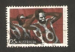 Stamps of the world : Australia :  arte de los aborigenes, cuerpos pintados