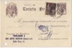 Stamps : Europe : Spain :  GUERRA CIVIL CENSURA ENTERO POSTAL CERVANTES, LEÓN - SAN JUST DESVERN, BARCELONA, 1939.