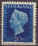 Sellos del Mundo : Europa : Holanda : Holanda 1947 Scott 295 Sello Reina Guillermina 20c usado Netherland