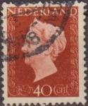 Sellos de Europa - Holanda -  Holanda 1947 Scott 301 Sello Reina Guillermina 40c usado Netherland