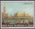 Sellos del Mundo : Europa : San_Marino : SAN MARINO 1971 Scott 748 Sello Nuevo Pinturas de Canaletto San Marcos y Palacio del Duque Venezia