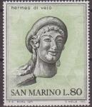Sellos del Mundo : Europa : San_Marino : SAN MARINO 1971 Scott 755 Sello Nuevo Arte Etrusco Cabeza de Mercurio Hermes di Veio 80L