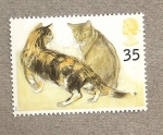 Stamps United Kingdom -  Gatos