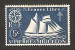 Sellos del Mundo : America : San_Pierre_&_Miquelon : Serie de Londres, Barco velero