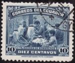 Stamps America - Ecuador -  TEJEDORES DE PAJA TOQUILLA(tejedores de sombreros)