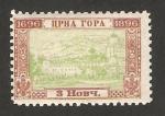 Stamps : Europe : Montenegro :  vista de cetinje, mausoleo de principes