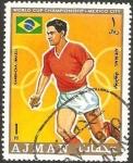 Stamps : Asia : United_Arab_Emirates :  Ajman - mundial de fútbol en México, garrincha (brasil)