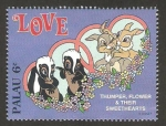 Stamps Oceania - Palau -  tambor, flor y sweethearts