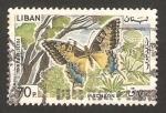 Sellos del Mundo : Asia : Líbano : mariposa machaon