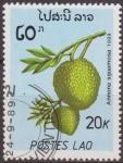 Sellos de Asia - Laos -  LAOS 1989 Scott 951 Sello Nuevo Frutas Chirimoya Annona Sguamosa Matasello de favor Preobliterado