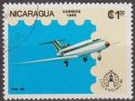 Stamps Nicaragua -  Nicaragua 1986 Scott 1554 Sello Avion Aeroplano Yak 40 Matasello de favor Preobliterado