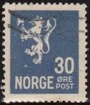 Stamps : Europe : Norway :  NORUEGA 1928 Scott 122 Sello León Rampante usado Norway Norvège Norge