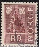 Sellos del Mundo : Europa : Noruega : NORUEGA 1962 Scott 428 Sello Iglesia Stave usado Norway Norvège Norge
