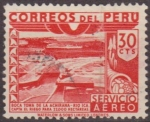 Stamps of the world : Peru :  PERU 1949 Scott C90 Sello Correo Aereo Boca Toma de la Achirana Rio Ica impreso waterlow & Sons Ld