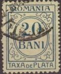 Sellos de Europa - Rumania -  RUMANIA 1911 Scott J45 Sello Portes Debidos Taxa de Plata Numeros 20 Bani usado