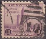Sellos de America - Estados Unidos -  USA 1933 Scott 729 Sello Chicago Century Of Progress Federal Building  usado Estados Unidos