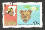 Sellos de Africa - República Democrática del Congo -  zaire - expedición por el río zaire, leopardo y nenufa