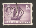 Stamps : Asia : Singapore :  elizabeth II, barco