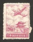 Stamps : Asia : South_Korea :  douglas DC-6, sobrevolando la puerta del este de seul