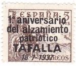 Stamps Spain -  Cid. Sobreimpreso. Tafalla. 1º Aniversario del alzamiento patriótico