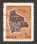 Sellos del Mundo : America : Bolivia : X anivº de la revolución nacional