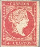 Stamps Europe - Spain -  ESPAÑA 1856 44 Sello Isabel II 4 cuartos