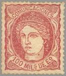 Sellos de Europa - España -  ESPAÑA 1870 108 Sello Nuevo Nuevo Regencia Duque de la Torre Efigie Alegorica 100ma Castaño Rojizo