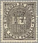 Sellos del Mundo : Europa : España : ESPAÑA 1874 141 Sello Nuevo Escudo de España Impuesto de Guerra 5c