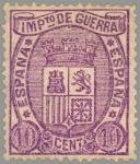 Stamps Europe - Spain -  ESPAÑA 1875 155 Sello Nuevo Impuesto de Guerra 10c