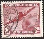 Stamps America - Chile -  LINEA AEREA NACIONAL - GLOBO TERRAQUEO