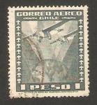 Stamps : America : Chile :  avión y globo terrestre